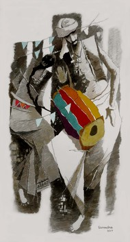 musician by Surendra Pal Singh, Expressionism Painting, Watercolor on Paper, Gray color