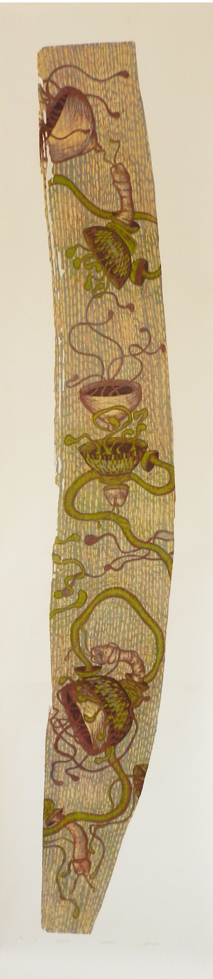 Untitled by Lajja Shah, Expressionism Printmaking, Wood Cut on Paper, Beige color
