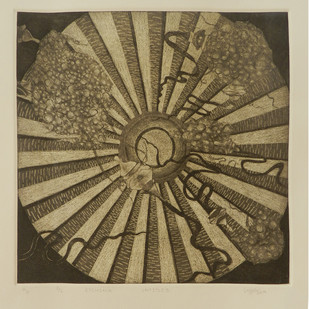 Untitled by Lajja Shah, Expressionism Printmaking, Etching and Aquatint, Brown color