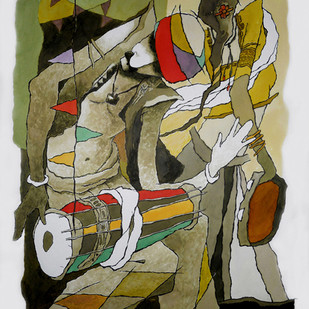 musician by Surendra Pal Singh, Expressionism Painting, Watercolor on Paper, Brown color