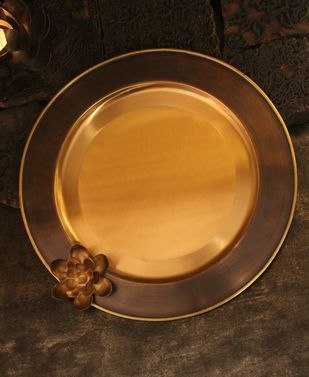 Courtyard Ganga Aarta Antique Brass Thal Large Serveware By COURTYARD