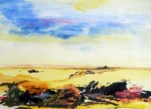 landscape-0031ipk by Ishwara Prakash, Abstract Painting, Acrylic on Paper, Brown color