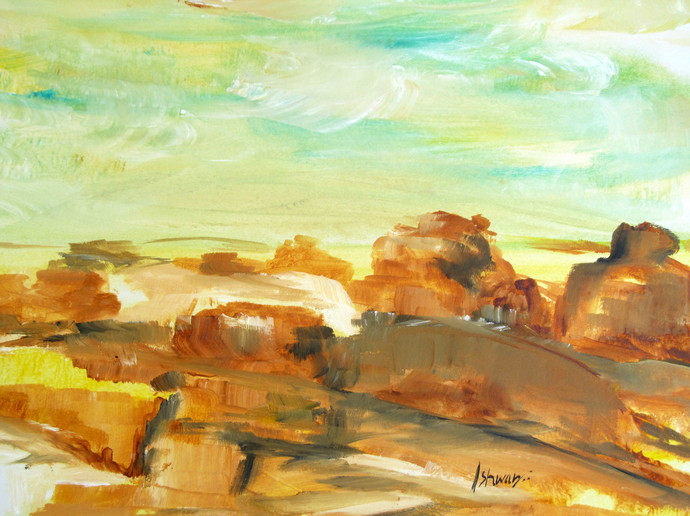 abstract landscape-0050ipk by Ishwara Prakash, Abstract Painting, Acrylic on Paper, Brown color