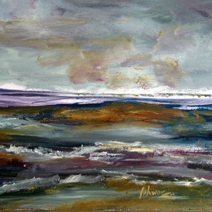 landscape-0047ipk by Ishwara Prakash, Abstract Painting, Acrylic on Paper, Gray color