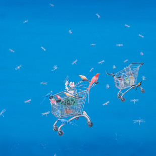 NATURE SHOP by Debashish Dutta, Surrealism Painting, Acrylic on Canvas, Blue color