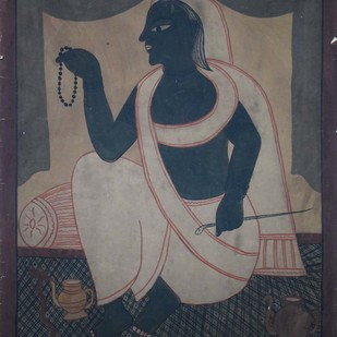 Chaksudan Painting by Unknown Artist, Traditional Painting, Watercolor on Paper, Gray color