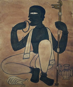 Chaksudan Painting by Unknown Artist, Folk Painting, Watercolor on Paper, Brown color