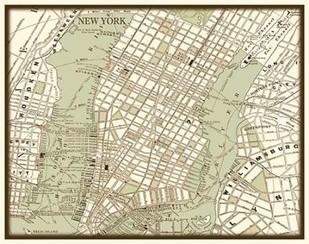 Sepia Map of New York Digital Print by Vision Studio,Decorative