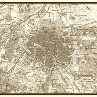 Sepia Map of Paris Digital Print by Vision Studio,Decorative