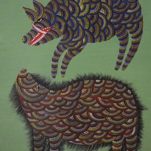 Gond Painting by Unknown Artist, Folk Painting, Acrylic on Canvas, Green color
