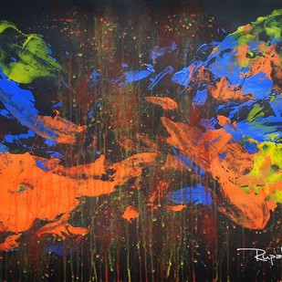 ECO REWIND by Rupak Munje, Abstract Painting, Acrylic on Paper, Red color