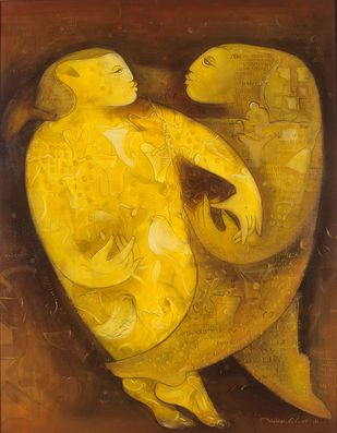Affection of the Cosmic by Madan Lal, Expressionism Painting, Acrylic on Canvas, Brown color