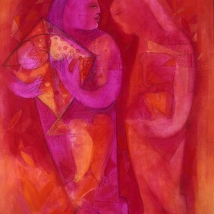 JOURNEY WITH KITE - II by Madan Lal, Expressionism Painting, Acrylic on Canvas, Red color