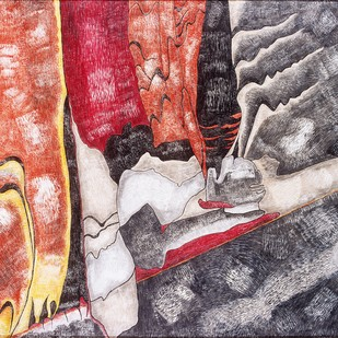 BEYOND THE DREAM - II by Meenakshi Kasliwal Bharati, Abstract Painting, Acrylic on Tarpaulin, Brown color