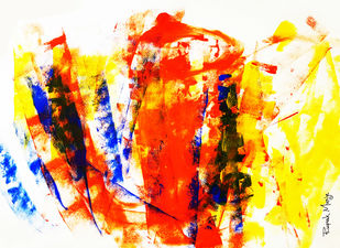 FROM THE FISHES HEART by Rupak Munje, Abstract Painting, Acrylic on Paper, Red color