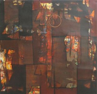 untitled by Stalin P J, Geometrical Painting, Acrylic on Canvas, Brown color