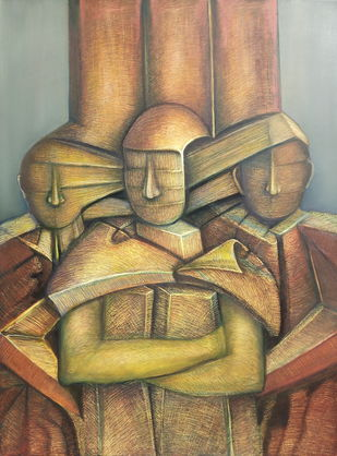 Trinity by Niku Guleria, Expressionism Painting, Oil on Canvas, Brown color