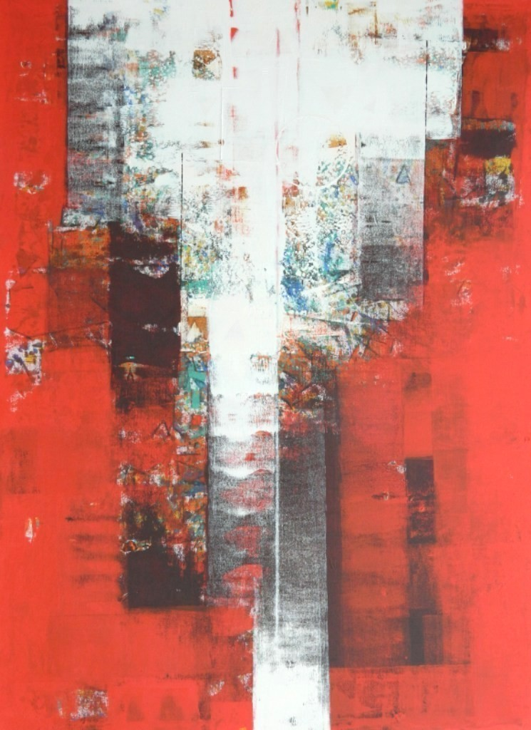 untitled by Stalin P J, Geometrical Painting, Acrylic on Canvas, Red color