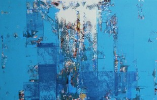 untitled by Stalin P J, Geometrical Painting, Acrylic on Canvas, Blue color