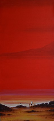 seascape -25 by Atul Virkar, Impressionism Painting, Acrylic on Canvas, Red color