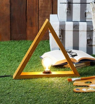The Brighter Side Triangle wood table lamp Table Lamp By The Brighter Side