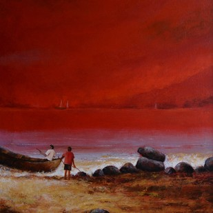 sescape -16 by Atul Virkar, Impressionism Painting, Acrylic on Canvas, Brown color