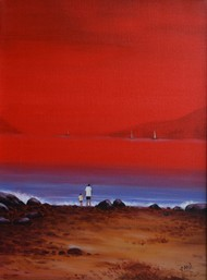 sescape -26 by Atul Virkar, Impressionism Painting, Acrylic on Canvas, Red color