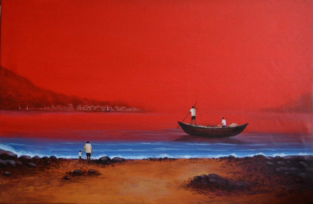 sescape -27 by Atul Virkar, Impressionism Painting, Acrylic on Canvas, Red color