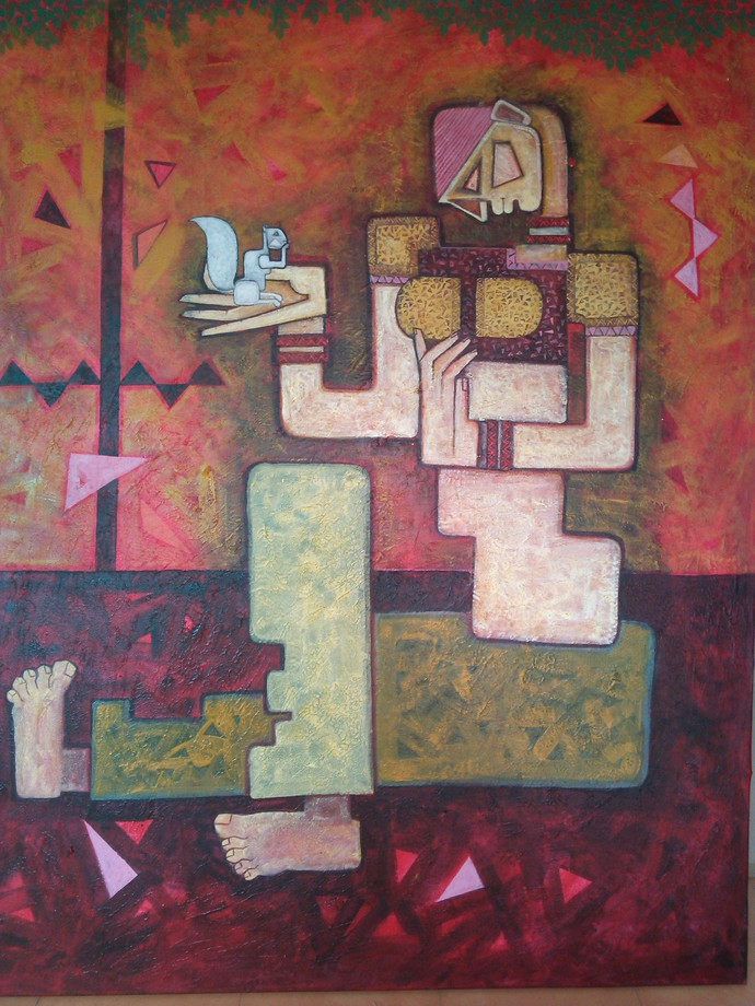 Friends by Amit Rajvanshi, Geometrical Painting, Acrylic on Canvas, Brown color