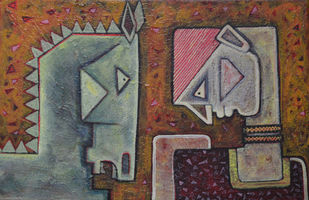 Friends - II by Amit Rajvanshi, Geometrical Painting, Acrylic on Canvas, Brown color