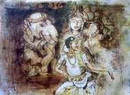 Rhythm-3 by Sreenivasa Ram Makineedi, Expressionism Painting, Watercolor on Paper, Brown color