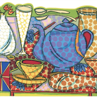Villayatea Table by Jyoti Bhatt, Pop Art Printmaking, Serigraph on Paper, Beige color