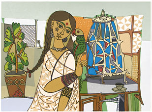 Totaramjee by Jyoti Bhatt, Expressionism Printmaking, Serigraph on Paper, Beige color