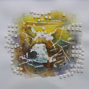 sound of silence3 by Jaiprakash Chouhan, Expressionism Painting, Mixed Media on Paper, Gray color