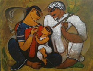 Family. by Ramesh p.gujar, Decorative Painting, Acrylic on Canvas, Brown color