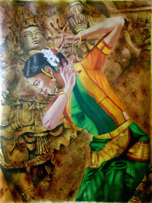 Ecstacy of dance-2 by Sreenivasa Ram Makineedi, Expressionism Painting, Oil on Canvas, Brown color