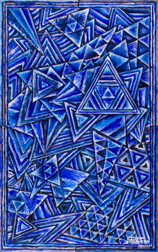 Untitled 280117 by Ratish Sharma, Geometrical Painting, Acrylic on Acrylic Sheet, Blue color