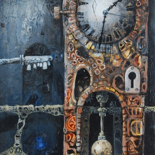 The Clock by Arnab Basu, Surrealism Painting, Oil on Canvas, Brown color