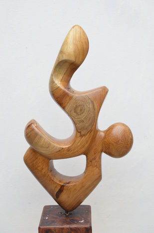 Love by Gurmeet Goldie, Art Deco Sculpture   3D, Wood, Gray color