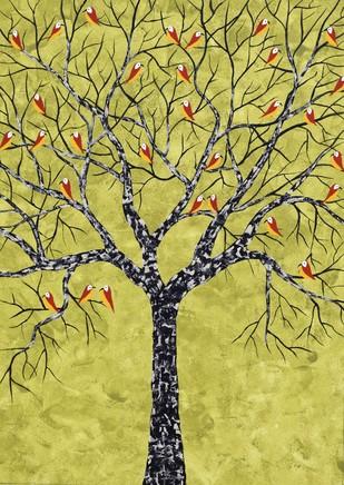 Harva Vriksh by Sumit Mehndiratta, Impressionism Painting, Acrylic on Canvas, Beige color