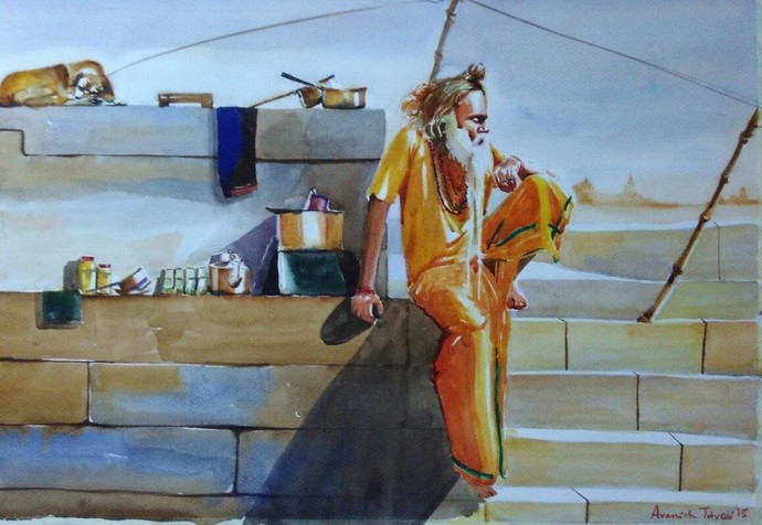 Chaai Baba at Narad Ghat by Avanish Trivedi, Expressionism Painting, Watercolor on Paper, Brown color