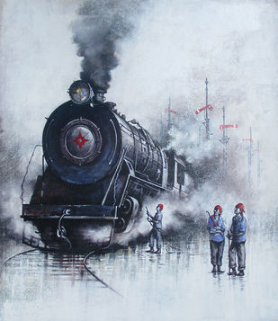 Indian Steam Locomotives 32 by Kishore Pratim Biswas, Impressionism Painting, Acrylic on Canvas, Pink color
