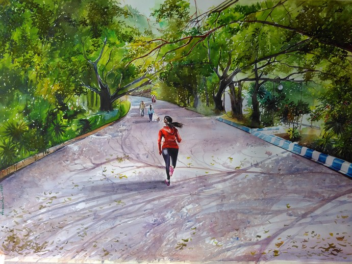 Morning Glory by Avanish Trivedi, Impressionism Painting, Watercolor on Paper, Green color