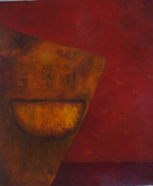 Moon On A Copper Plate by Pradip Chaudhuri, Abstract Painting, Acrylic on Canvas, Brown color