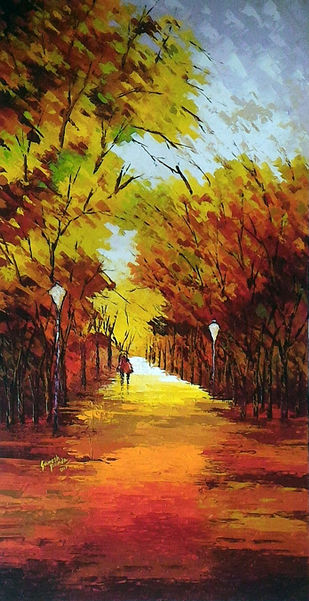 untitled by Ganesh Panda, Impressionism Painting, Acrylic on Canvas, Brown color