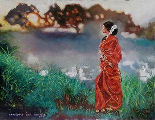 Avani by Sreenivasa Ram Makineedi, Expressionism Painting, Oil on Canvas, Green color