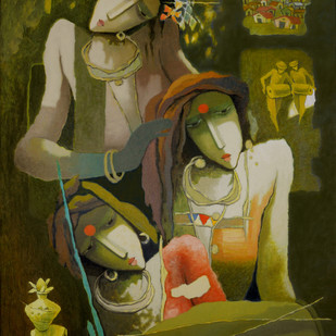 untitled by Surendra Pal Singh, Expressionism Painting, Oil on Canvas, Green color