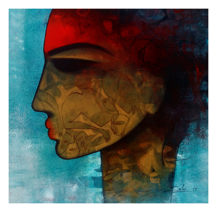 untitled by Mukesh Salvi, Expressionism Painting, Acrylic on Canvas, Brown color
