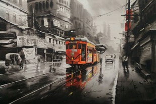 Kolkata City Scape-In a Rainy Day -II by Arpan bhowmik, Impressionism Painting, Acrylic on Canvas, Brown color