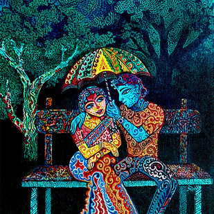 A PERPETUAL MOMENT by Pradip Sarkar, Expressionism Painting, Acrylic on Canvas, Blue color